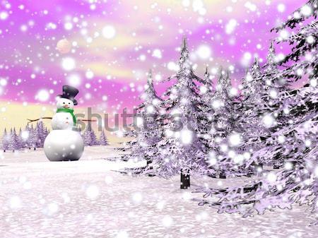 Paris in winter, France - 3D render Stock photo © Elenarts