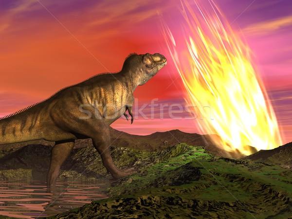 Extinction of dinosaurs - 3D render Stock photo © Elenarts