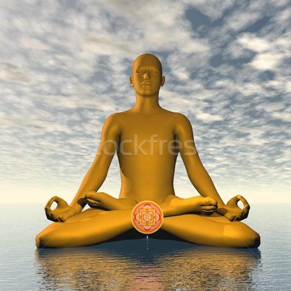 Narancs csakra meditáció 3d render sziluett férfi Stock fotó © Elenarts