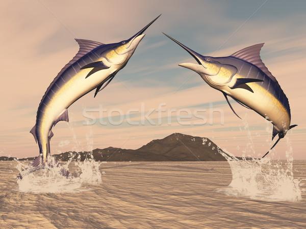 3d render gün batımı su doğa deniz Stok fotoğraf © Elenarts