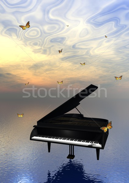 Piano and butterflies Stock photo © Elenarts
