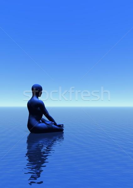 Meditasyon boşluk adam meditasyon okyanus mavi Stok fotoğraf © Elenarts