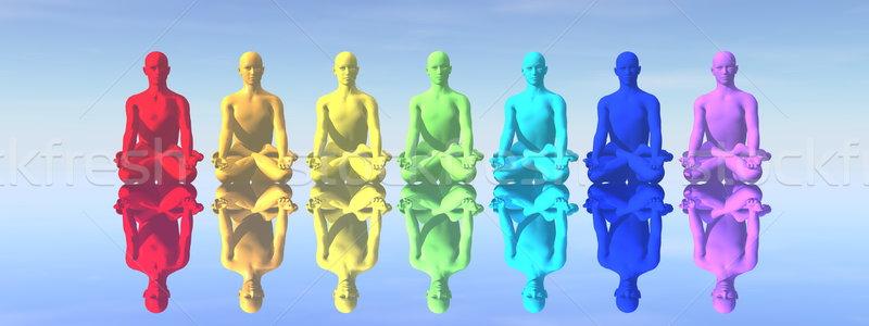 Meditatie zeven menselijke chakra kleuren reflectie Stockfoto © Elenarts