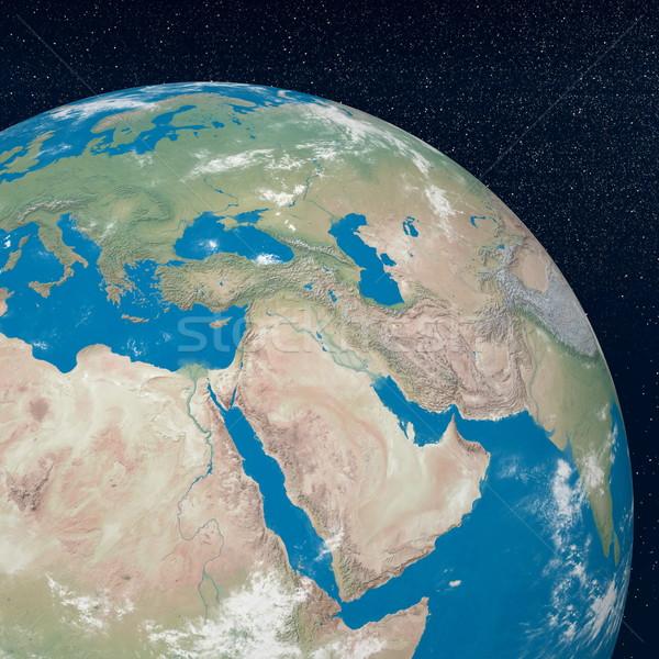 Midden oosten 3d render aarde planeet tonen regio Stockfoto © Elenarts