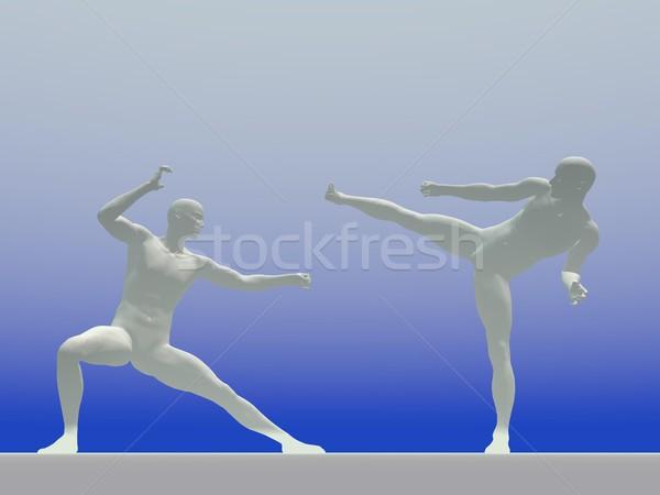 非現実的な カンフー 3dのレンダリング 白 影 二人の男性 ストックフォト © Elenarts