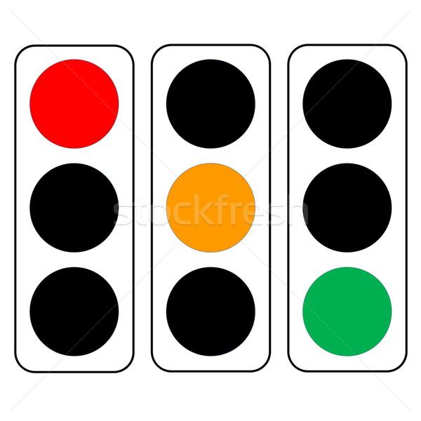 Trafik ışıkları üç yeşil turuncu kırmızı renkler Stok fotoğraf © Elenarts