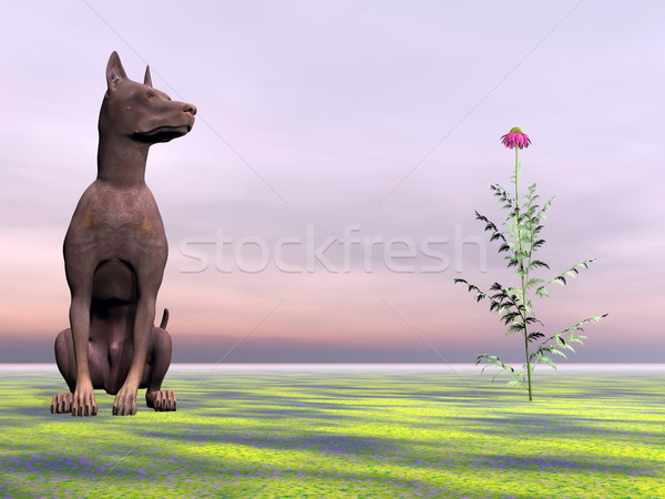 Doberman dog next to beautiful flower - 3D render Stock photo © Elenarts