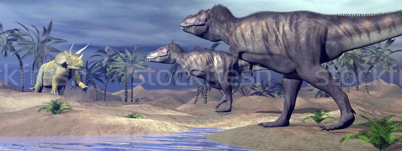 Tyrannosaurus attacking triceratops - 3D render Stock photo © Elenarts