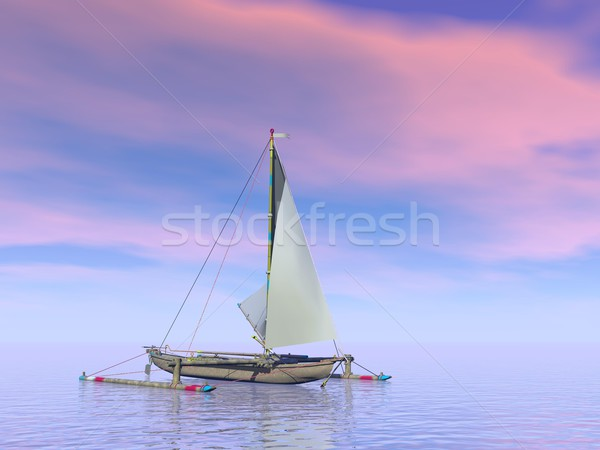 Trimaran boat by sunset - 3D render Stock photo © Elenarts