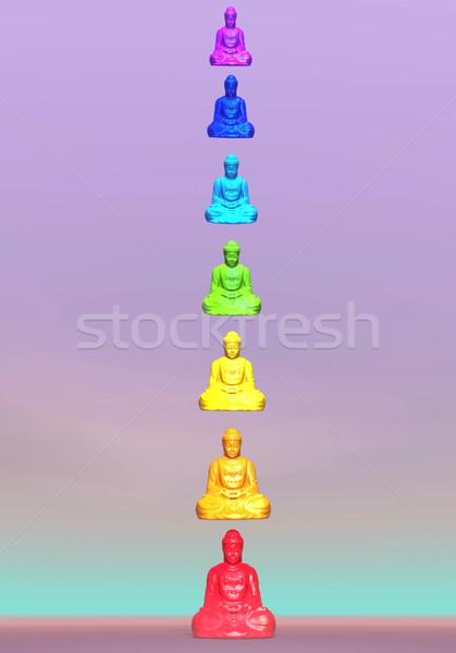 Chakra 3d render zeven kleurrijk kolom violet Stockfoto © Elenarts