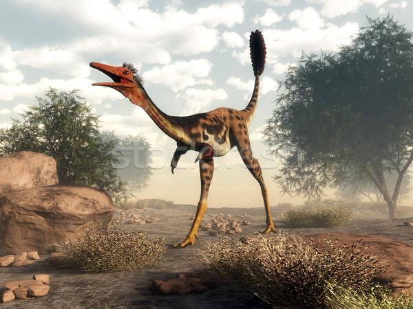 Mononykus dinosaur in the desert - 3D render Stock photo © Elenarts