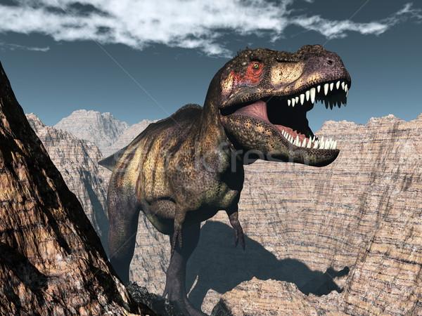 Tyrannosaurus rex dinosaur roaring - 3D render Stock photo © Elenarts