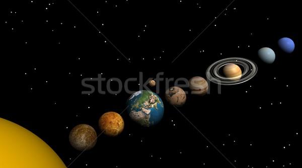Солнечная система ночь планеты солнце луна Сток-фото © Elenarts