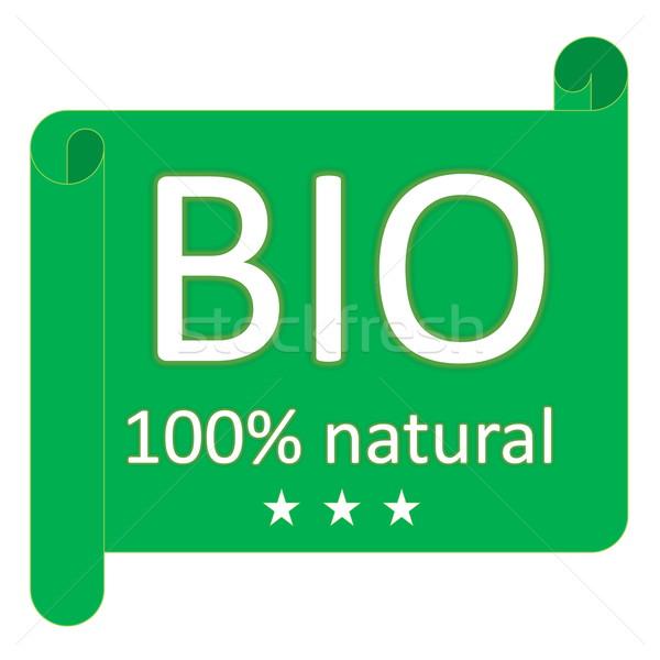 Bio etiqueta verde 100 naturales tres Foto stock © Elenarts