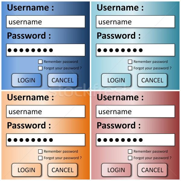 Set of login forms Stock photo © Elenarts