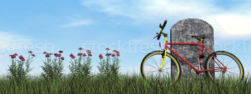 Ciclista lápida sepulcral 3d nublado día flor Foto stock © Elenarts