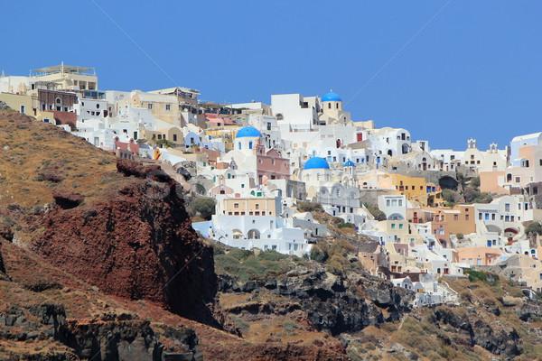 Santorini Grecia view blu ortodossa chiese Foto d'archivio © Elenarts