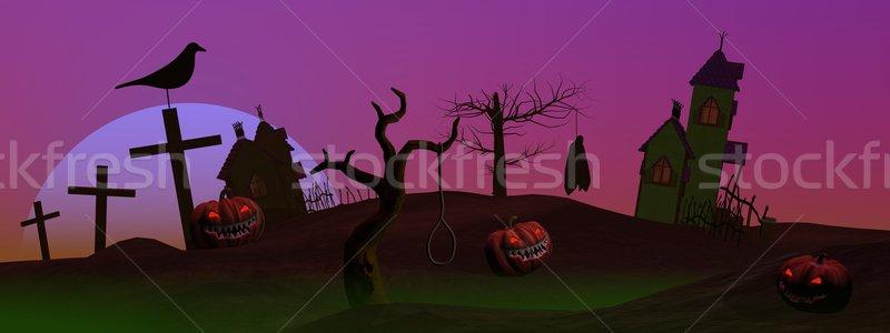 Full moon halloween scene Stock photo © Elenarts