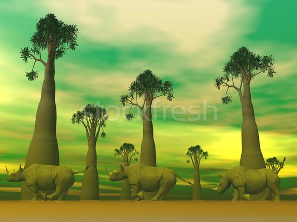 Rhinoceros running Stock photo © Elenarts
