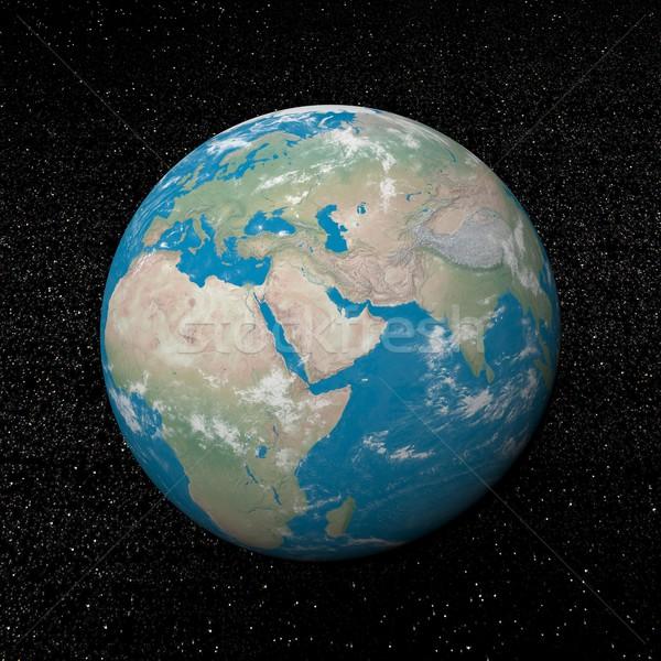 Oriente Medio tierra 3d universo estrellas nubes Foto stock © Elenarts
