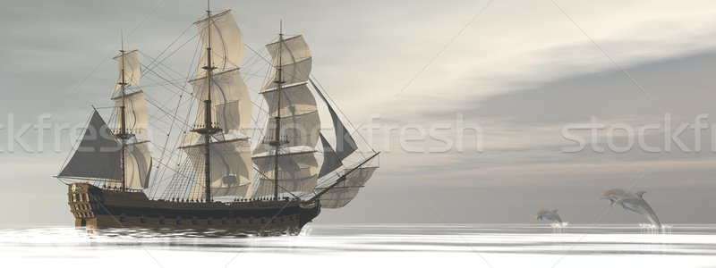 Old merchant ship and dolphins - 3D render Stock photo © Elenarts
