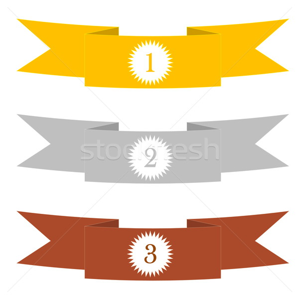 Stock photo: Gold, silver and bronze rubans