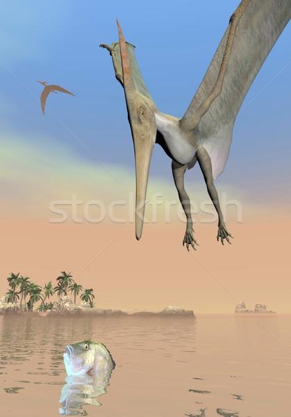 Pteranodon dinosaurs fishing - 3D render Stock photo © Elenarts