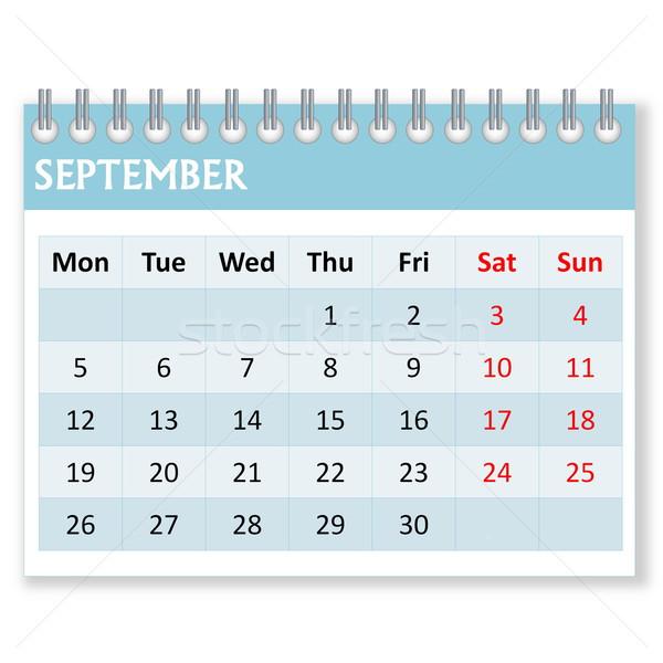 Calendar sheet for september Stock photo © Elenarts
