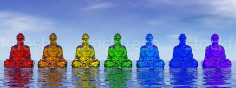 Chakra buddhas - 3D render Stock photo © Elenarts