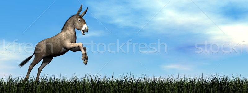 ロバ ジャンプ 3dのレンダリング 緑の草 日 空 ストックフォト © Elenarts