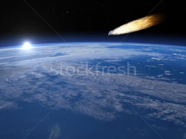 Göktaşı 3d render meteor atmosfer gündoğumu Stok fotoğraf © Elenarts