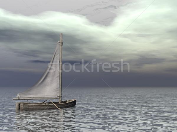 Mały żeglarstwo łodzi ocean 3d szary Zdjęcia stock © Elenarts