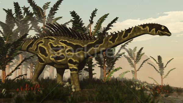 динозавр 3d визуализации ходьбе растительность день пейзаж Сток-фото © Elenarts
