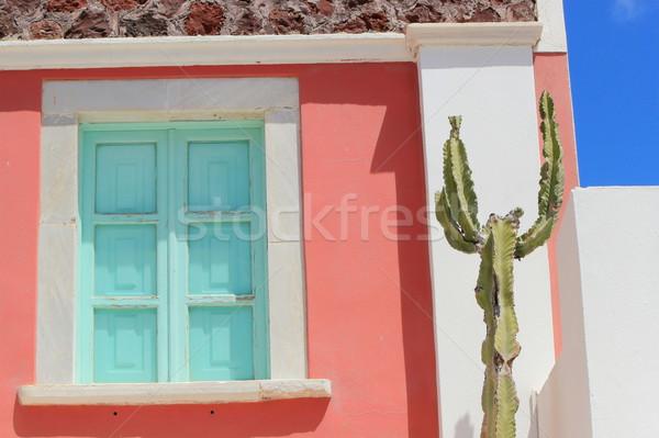 Zsalu ház Santorini Görögország színes homlokzat Stock fotó © Elenarts