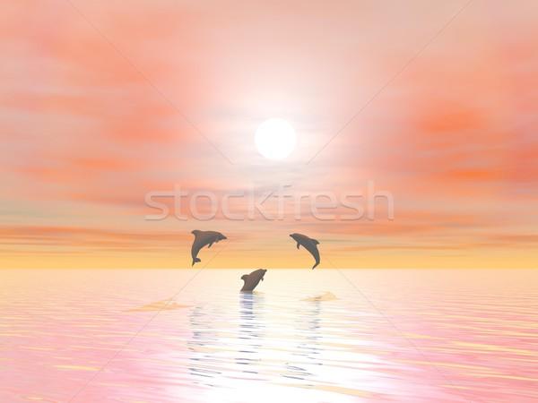 Сток-фото: счастливым · дельфины · 3d · визуализации · тень · три · небольшой
