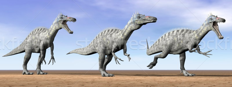 Suchomimus dinosaurs in the desert - 3D render Stock photo © Elenarts
