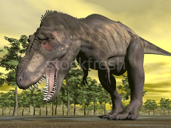 Mérges 3d render egy dinoszaurusz sétál nyitott szájjal Stock fotó © Elenarts
