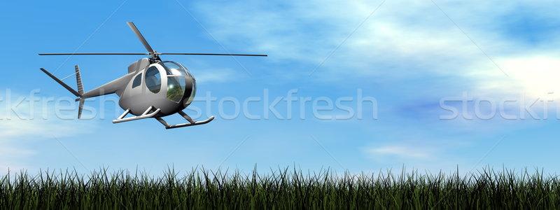 śmigłowca lądowanie 3d dzień niebo trawy Zdjęcia stock © Elenarts