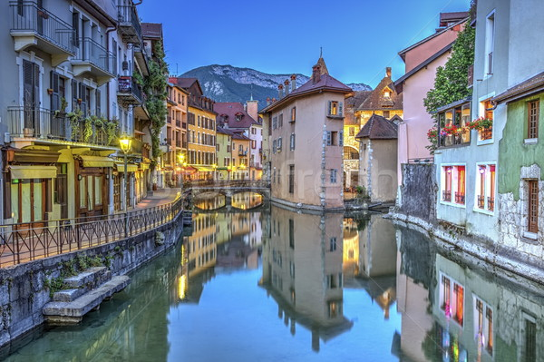 Quai de l'Ile and canal in Annecy old city, France, HDR Stock photo © Elenarts