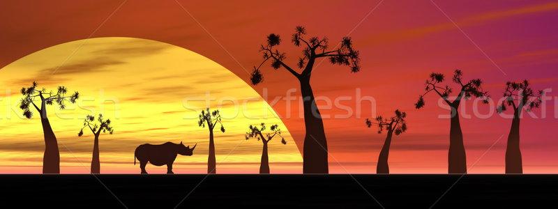 Rhinoceros in the savannah Stock photo © Elenarts
