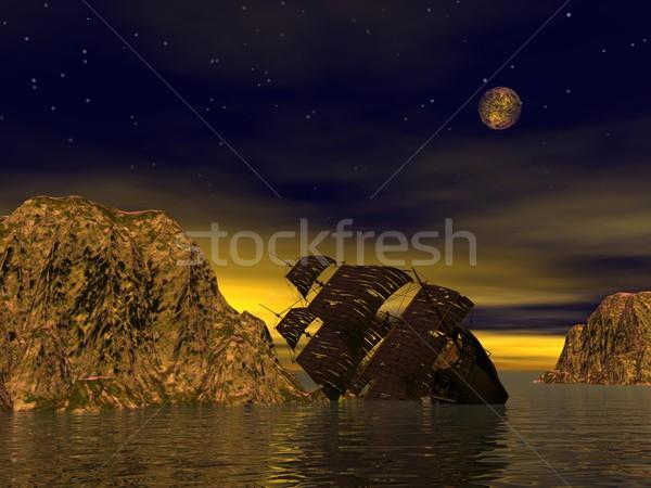 Destruir velho barco mar amarelo Foto stock © Elenarts