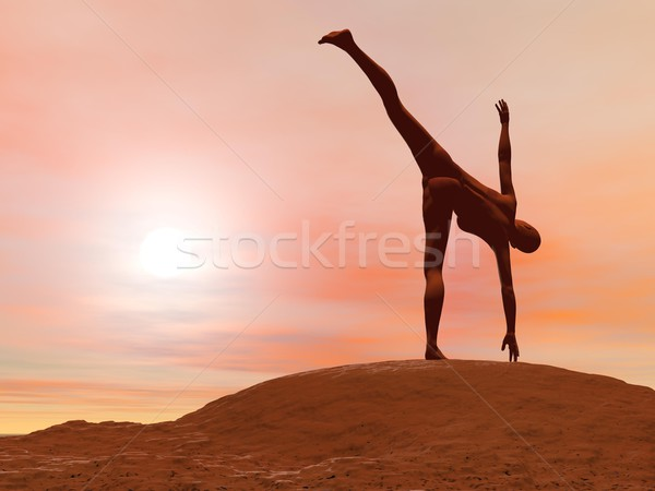 Half moon pose, ardha chandrasana - 3D render Stock photo © Elenarts