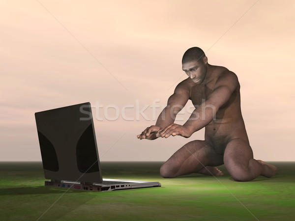 Computer and homo erectus - 3D render Stock photo © Elenarts