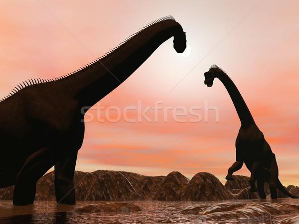 Сток-фото: Динозавры · закат · 3d · визуализации · два · воды