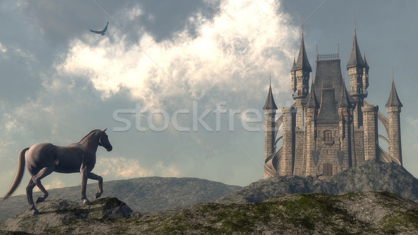 Arriving at the castle - 3D render Stock photo © Elenarts