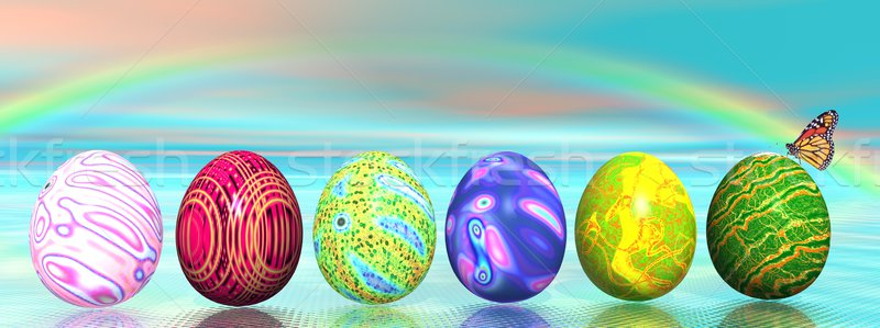 Easter colored eggs and rainbow Stock photo © Elenarts