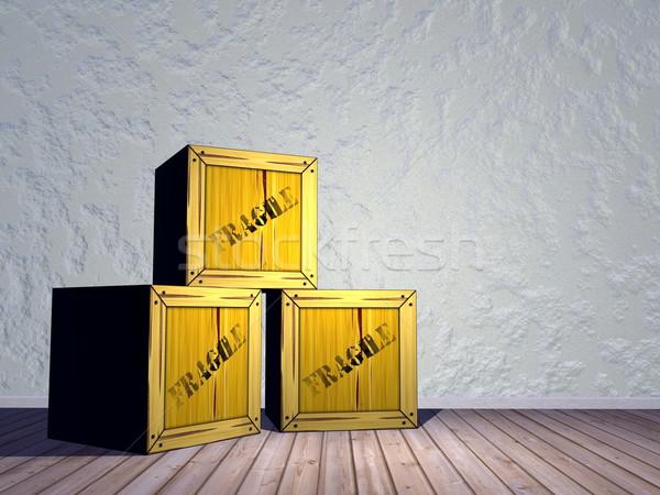 Törékeny 3d render három szoba fal fény Stock fotó © Elenarts