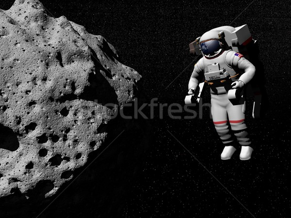 Astronaut exploring asteroid - 3D render Stock photo © Elenarts