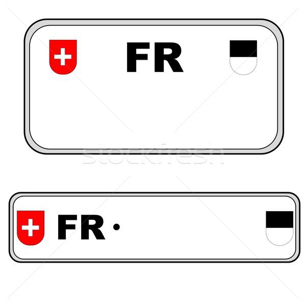 Fribourg plate number, Switzerland Stock photo © Elenarts
