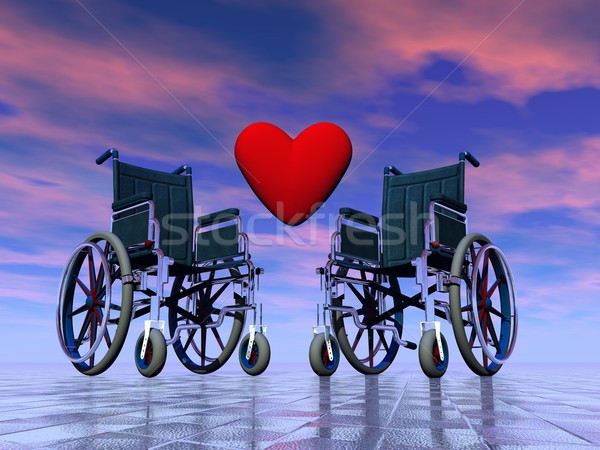 Stock photo: Handicapped persons love - 3D render